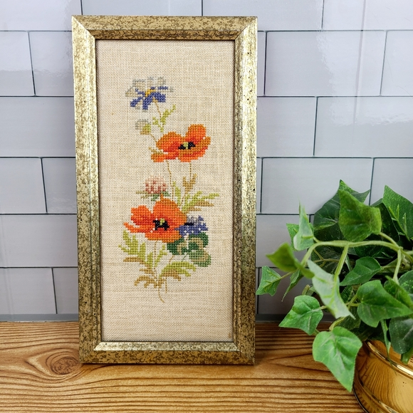 Vintage cross stitch framed artwork